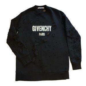 Givenchy Paris Destroyed Sweatshirt Black M I99